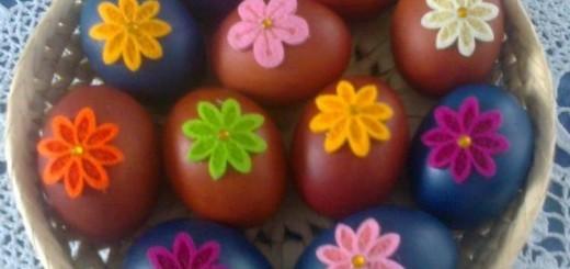 Pomladne pisanice (rožice iz filca)