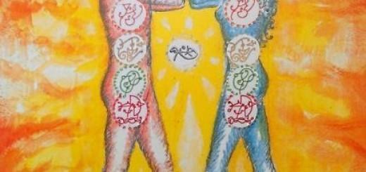 Telesne čakre od spodaj navzgor: korenska, spolna, solarni pleksus, srčna, grlena, tretje oko  ter kronska čakra.